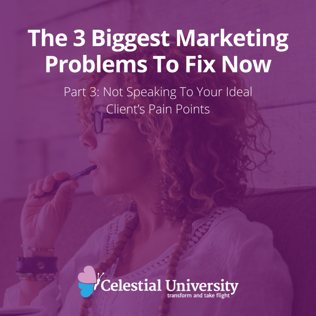 The 3 Biggest Marketing Problems To Fix Now, Part 3: Not Speaking To Your Ideal Client's Pain Points